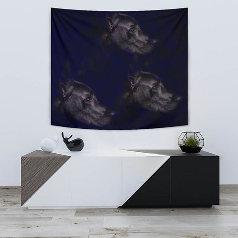 Great Dane Dog Black Print Tapestry-Free Shipping