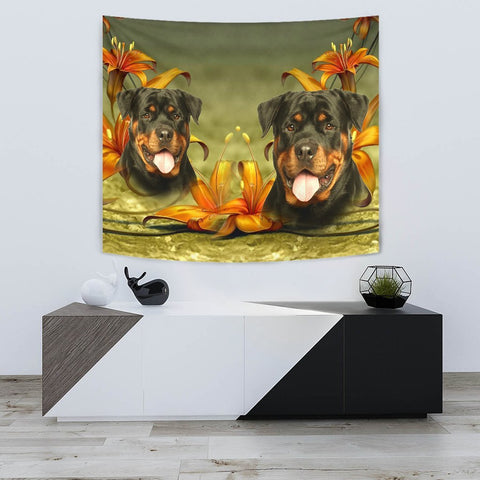 Cute Rottweiler Dog Print Tapestry-Free Shipping