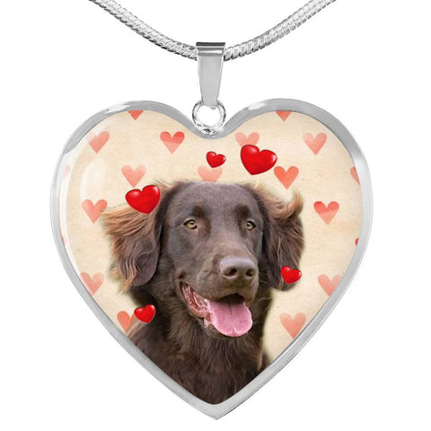 Flat Coated Retriever Print Heart Pendant Luxury Necklace-Free Shipping