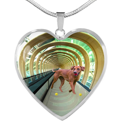 Rhodesian Ridgeback Dog Print Heart Pendant Luxury Necklace-Free Shipping