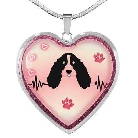 English Springer Spaniel Dog Print Heart Charm Necklaces-Free Shipping