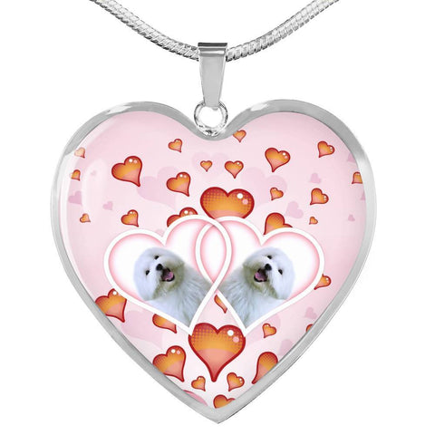 Maltese Dog Print Heart Charm Luxury Necklace-Free Shipping
