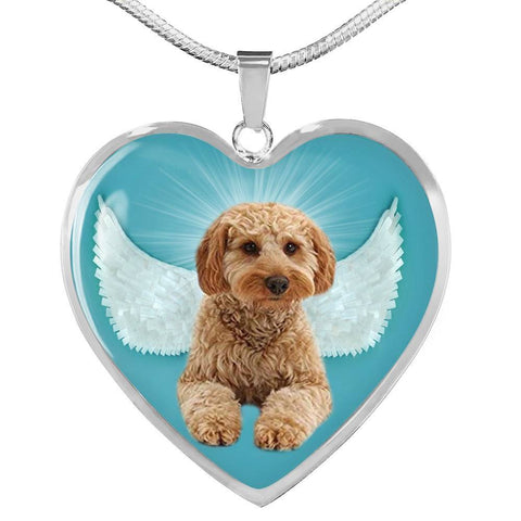Cavapoo Dog Print Heart Pendant Luxury Necklace-Free Shipping