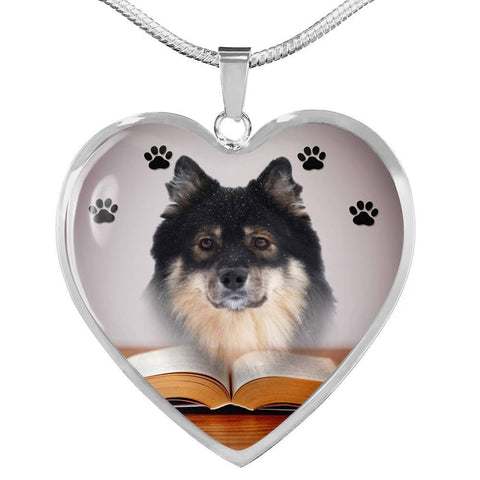 Finnish Lapphund Print Heart Pendant Luxury Necklace-Free Shipping