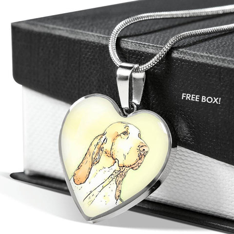 Bracco Italiano Dog Print Heart Pendant Luxury Necklace-Free Shipping