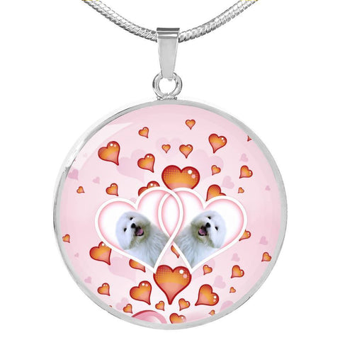 Maltese Dog Print Circle Charm Luxury Necklace-Free Shipping