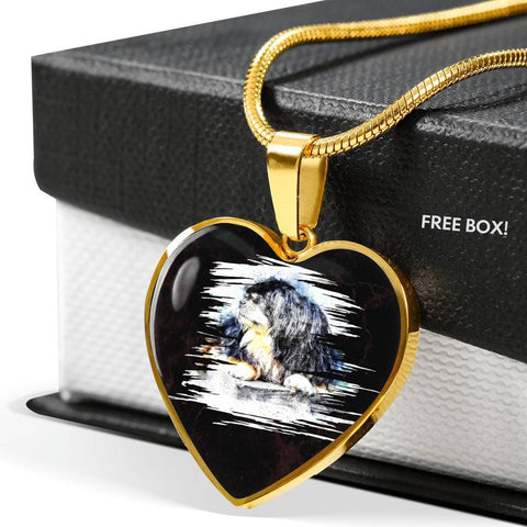 Tibetan Mastiff Dog Art Print Heart Charm Necklaces-Free Shipping