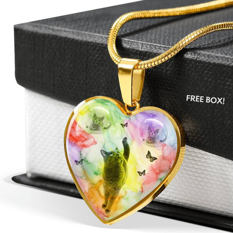 Cute Russian Blue Cat Print Heart Pendant Luxury Necklace-Free Shipping