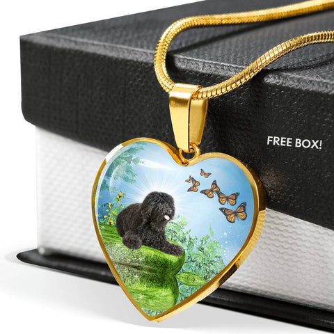 Barbet Dog Print Heart Pendant Luxury Necklace-Free Shipping