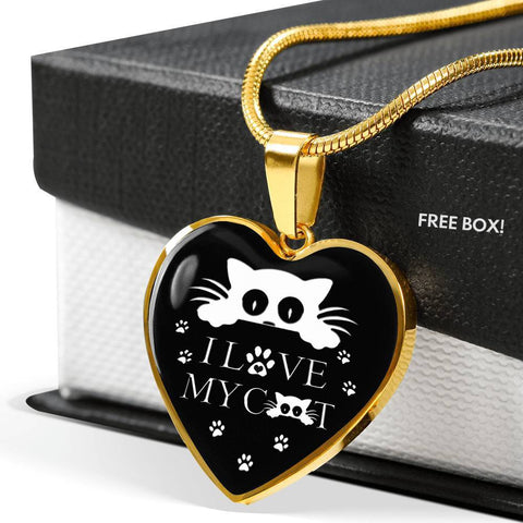 """ I Love My Cat"" Print Heart Pendant Luxury Necklace-Free Shipping"