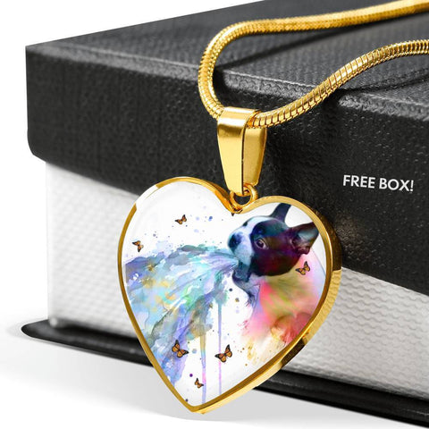 Amazing Colorful Boston Terrier Print Heart Pendant Luxury Necklace-Free Shipping
