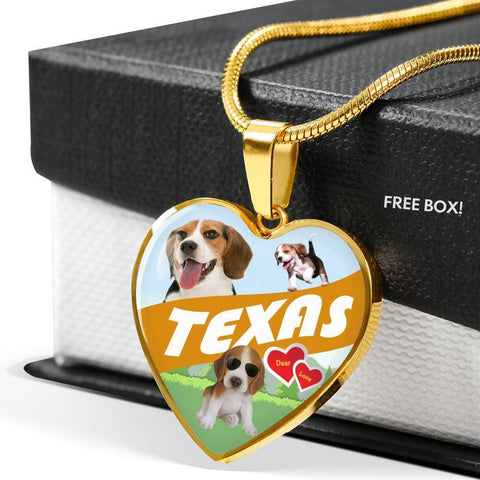 Cute Beagle Dog Print Texas Heart Pendant Luxury Necklace-Free Shipping