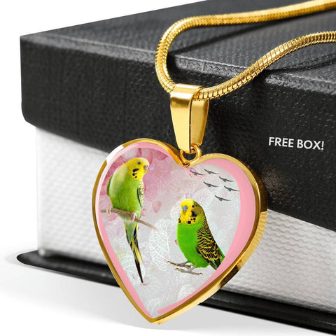 Budgerigar Parrot Print Heart Charm Necklaces-Free Shipping