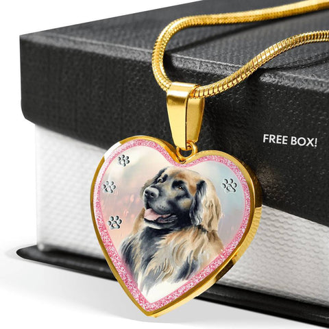 Leonberger Dog Art Print Heart Charm Necklaces-Free Shipping