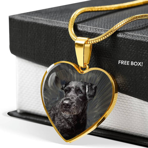 Bouvier des Flandres Print Heart Pendant Luxury Necklace-Free Shipping