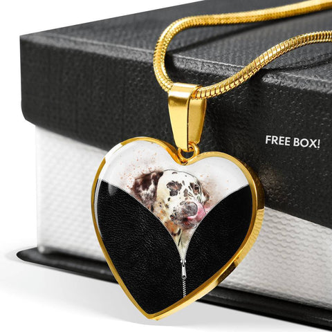 Dalmatian Dog Art Print Heart Charm Necklaces-Free Shipping