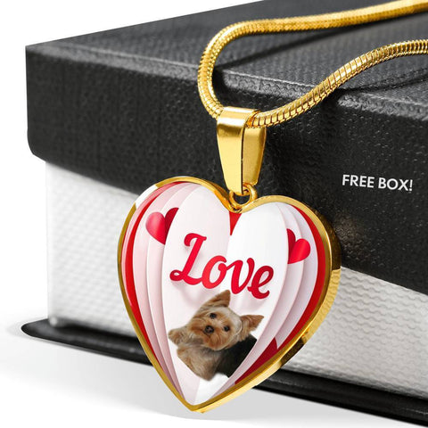 Yorkshire Terrier(Yorkie) Love Print Heart Pendant Luxury Necklace-Free Shipping