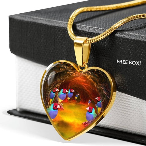 Gouldian Finch (Rainbow Finch) Heart Charm Necklaces-Free Shipping