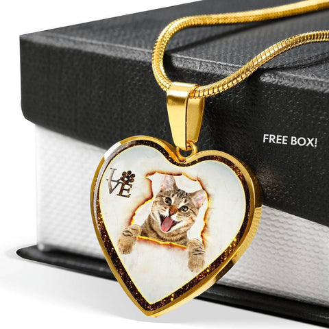 Lovely Bengal Cat Print Heart Charm Necklaces-Free Shipping