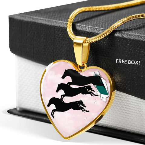 Horse Running Art Print Heart Charm Necklaces-Free Shipping