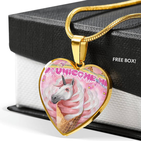 Creamy Unicorn Print Heart Pendant Luxury Necklace-Free Shipping