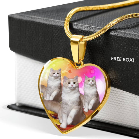 Ragamuffin Cat Print Heart Pendant Luxury Necklace-Free Shipping