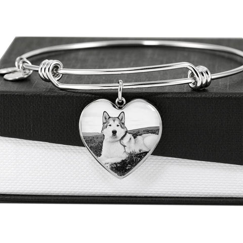 Alaskan Malamute Print Luxury Heart Charm Bangle -Free Shipping