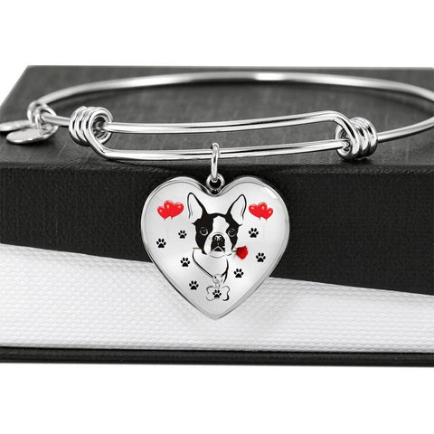 Cute Boston Terrier Print Heart Pendant Luxury Bangle-Free Shipping