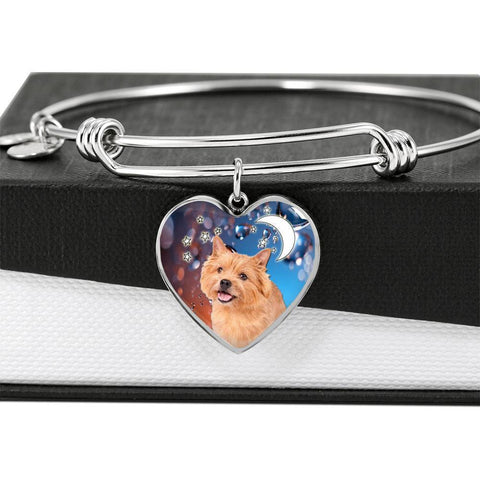 Norwich Terrier Print Luxury Heart Charm Bangle-Free Shipping
