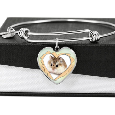 Robo Hamster Print Heart Pendant Bangle-Free Shipping