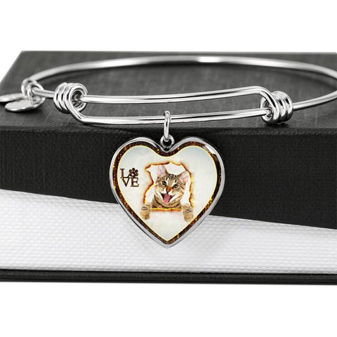 Lovely Bengal Cat Print Heart Pendant Bangle-Free Shipping