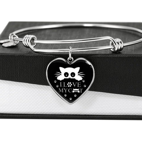 """ I Love My Cat"" Print Heart Pendant Luxury Bangle-Free Shipping"