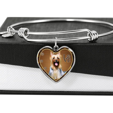 Australian Silky Terrier Dog Print Heart Pendant Bangle-Free Shipping