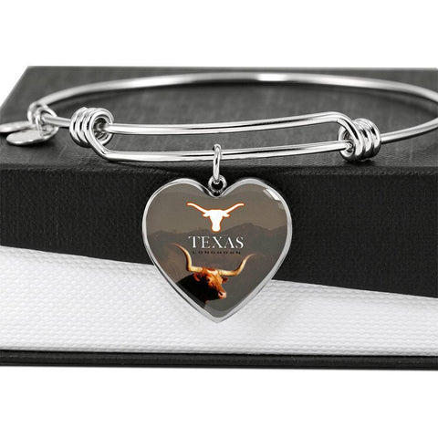 Texas Longhorn Cattle (Cow) Print Heart Pendant Luxury Bangle-Free Shipping