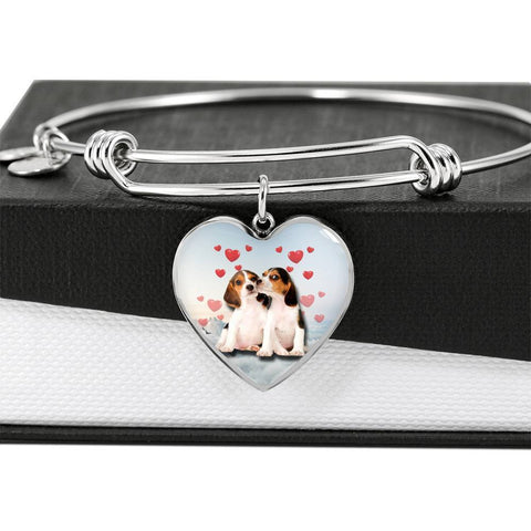 Cute Beagle Print Luxury Heart Charm Bangle -Free Shipping