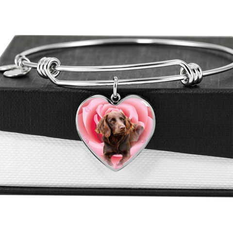 Boykin Spaniel Print Luxury Heart Charm Bangle-Free Shipping
