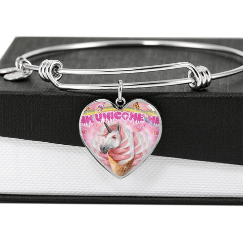 Creamy Unicorn Print Heart Pendant Luxury Bangle-Free Shipping