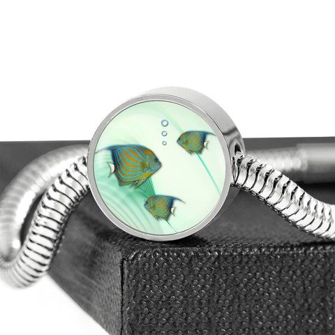 Angelfish Print Circle Charm Steel Bracelet-Free Shipping