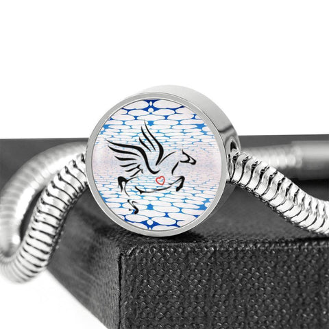 Amazing Percheron Horse Print Circle Charm Steel Bracelet-Free Shipping
