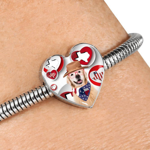 Golden Retriever Print Texas Heart Charm Steel Bracelet-Free Shipping