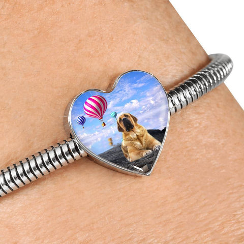 Spanish Mastiff Dog Print Heart Charm Steel Bracelet-Free Shipping