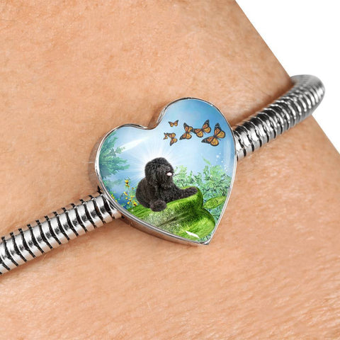 Barbet Dog Print Heart Charm Steel Bracelet-Free Shipping