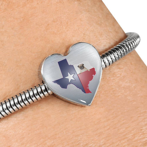 Pug Dog Texas Print Heart Charm Steel Bracelet-Free Shipping