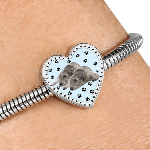 Irish Wolfhound Dog Print Heart Charm Steel Bracelet-Free Shipping