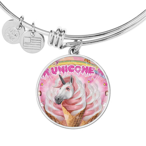 Creamy Unicorn Print Circle Pendant Luxury Bangle-Free Shipping