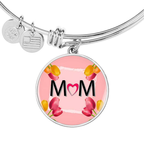 """MOM"" Print Circle Pendant Luxury Bangle-Free Shipping"