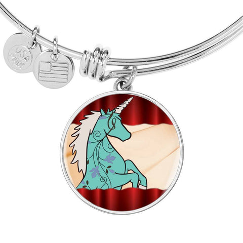 Unicorn Print Circle Pendant Luxury Bangle-Free Shipping