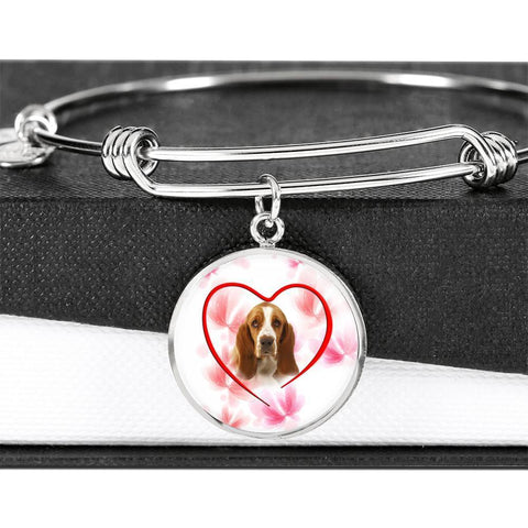 Basset Hound Print Luxury Circle Charm Bangle-Free Shipping