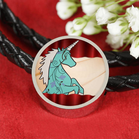 Unicorn Print Circle Charm Leather Bracelet-Free Shipping
