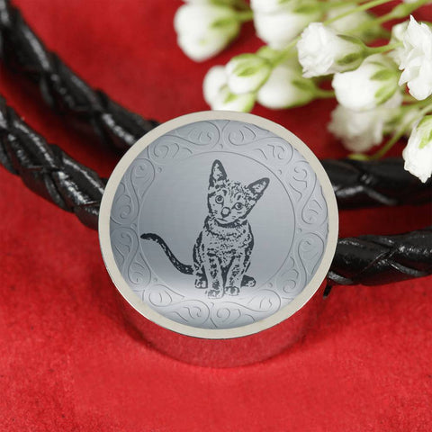Russian Blue Cat Art Print Circle Charm Leather Bracelet-Free Shipping